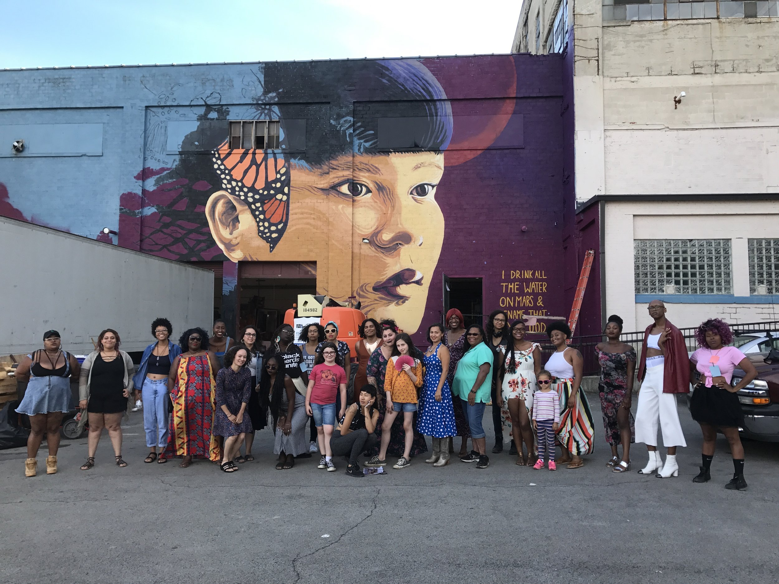 Live poetry performance, summer 2017. Pink Door '16 fellow Jess X Snow was in the process of painting this spectacular mural of PD '16 fellow Chrysanthemum Tran for the local WALL\THERAPY 2017 project.