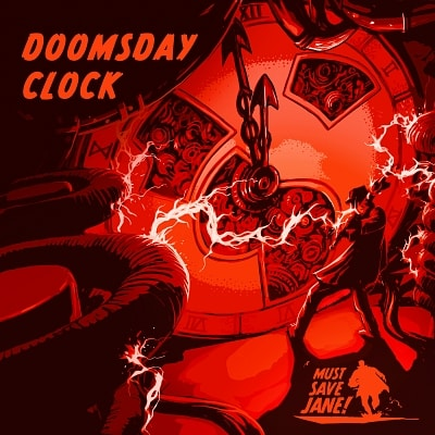 When The Doomsday Clock hits midnight we're looking at global destruction; super volcanoes, earthquakes and tsunamis pale in comparison to the Clock's destructive power. - Tension building trailer cues built around ticking clock sounds.