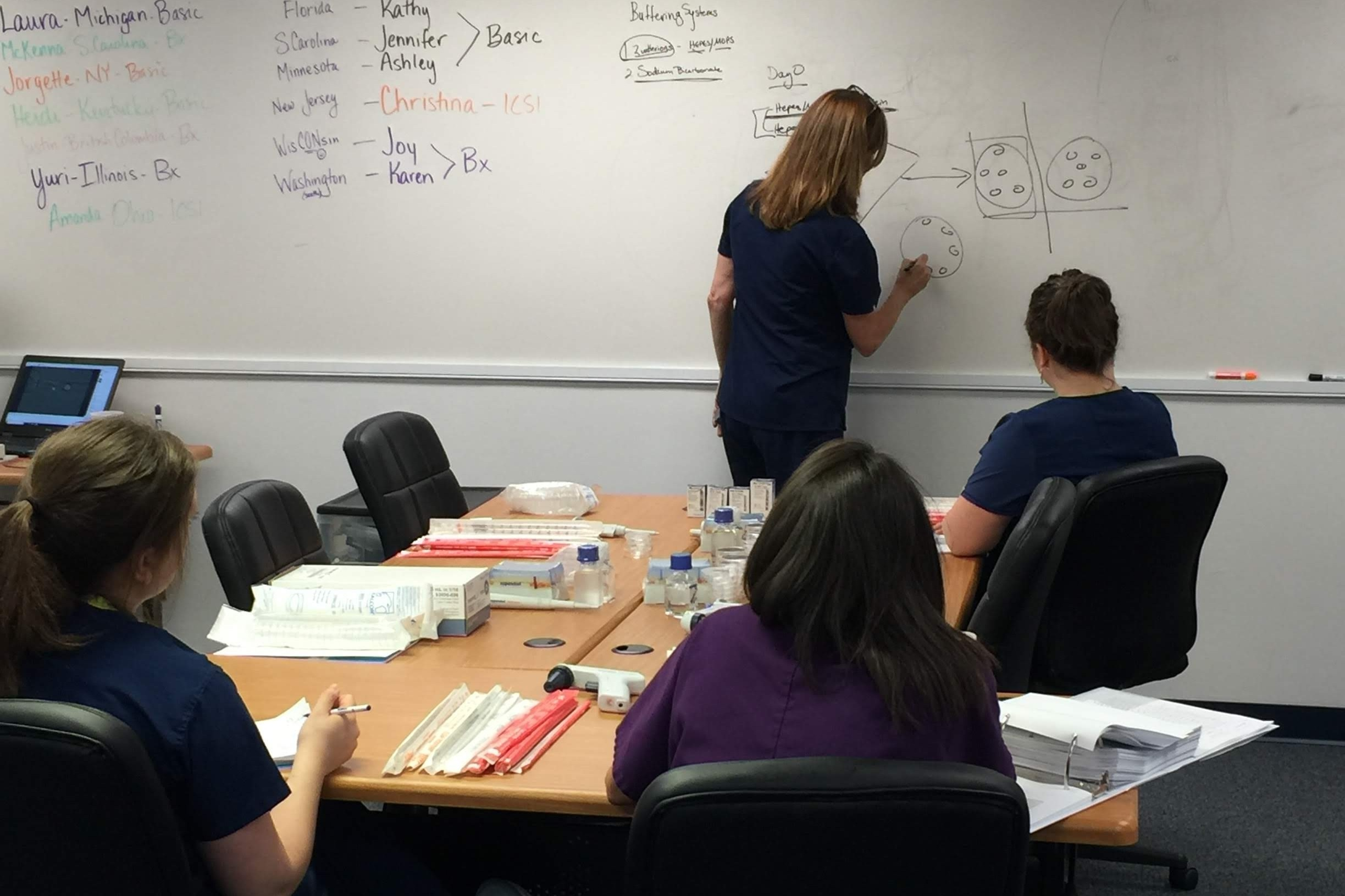Kathy Miller Training at the OvaTools Training Institute for Andology and Embryology.