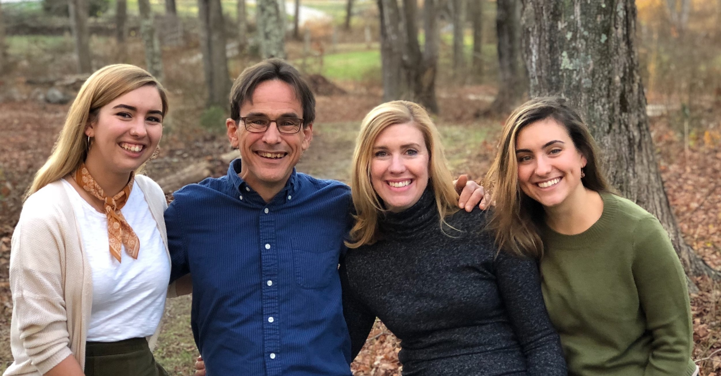 Tom with his younger daughter Molly (left); his wife of 29 years, Mary Kay Fenton; and his older daughter MaryGrace (right) at Mary Kay's uncle's farm in Old Lyme for their annual Thanksgiving celebration.