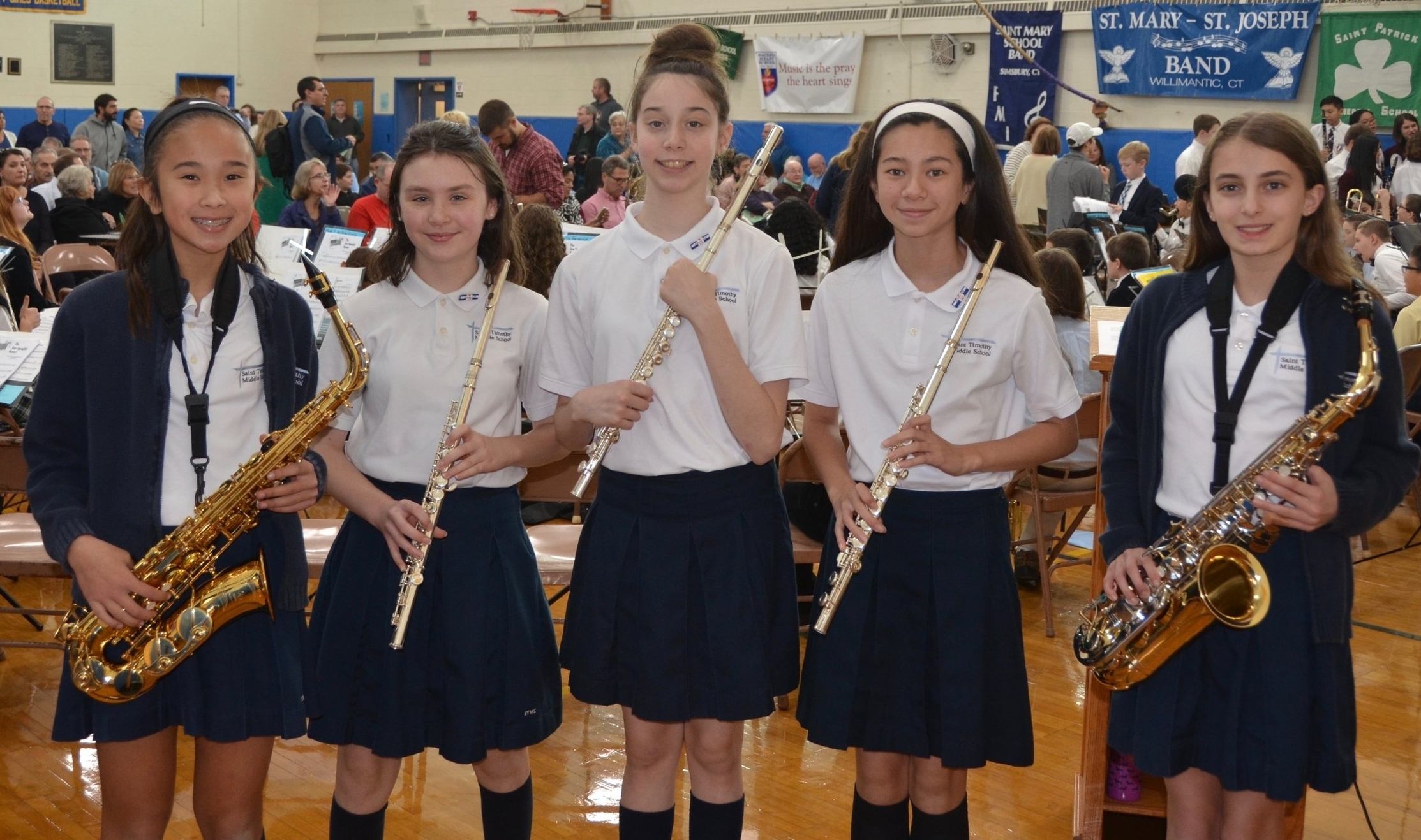 - 5 of our students performed in the Eastern Regional Band concert in October 2018. (Left to right): Lindsay Truong '20, Margaret Devlin '19, Michaela Martinez '19, Sophie Chen '21, Ava Rotundo '20.