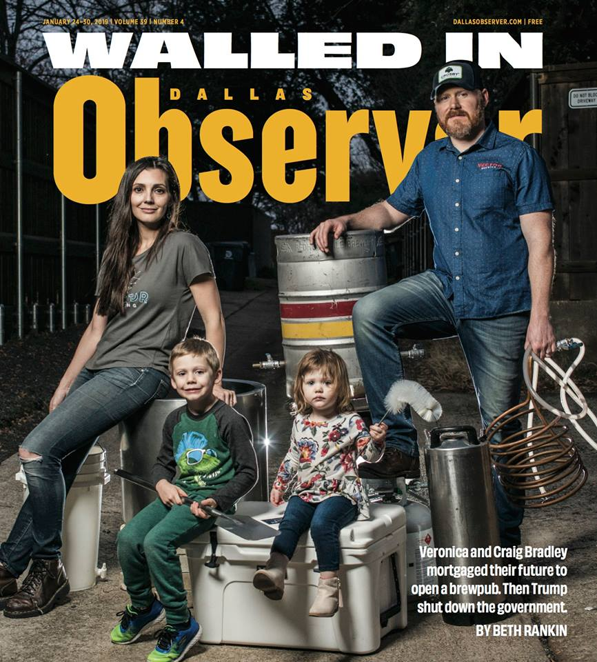 Our family on the cover of the Dallas Observer with our brewing equipment. Photo by Can 'Turk' Turkyilmaz.
