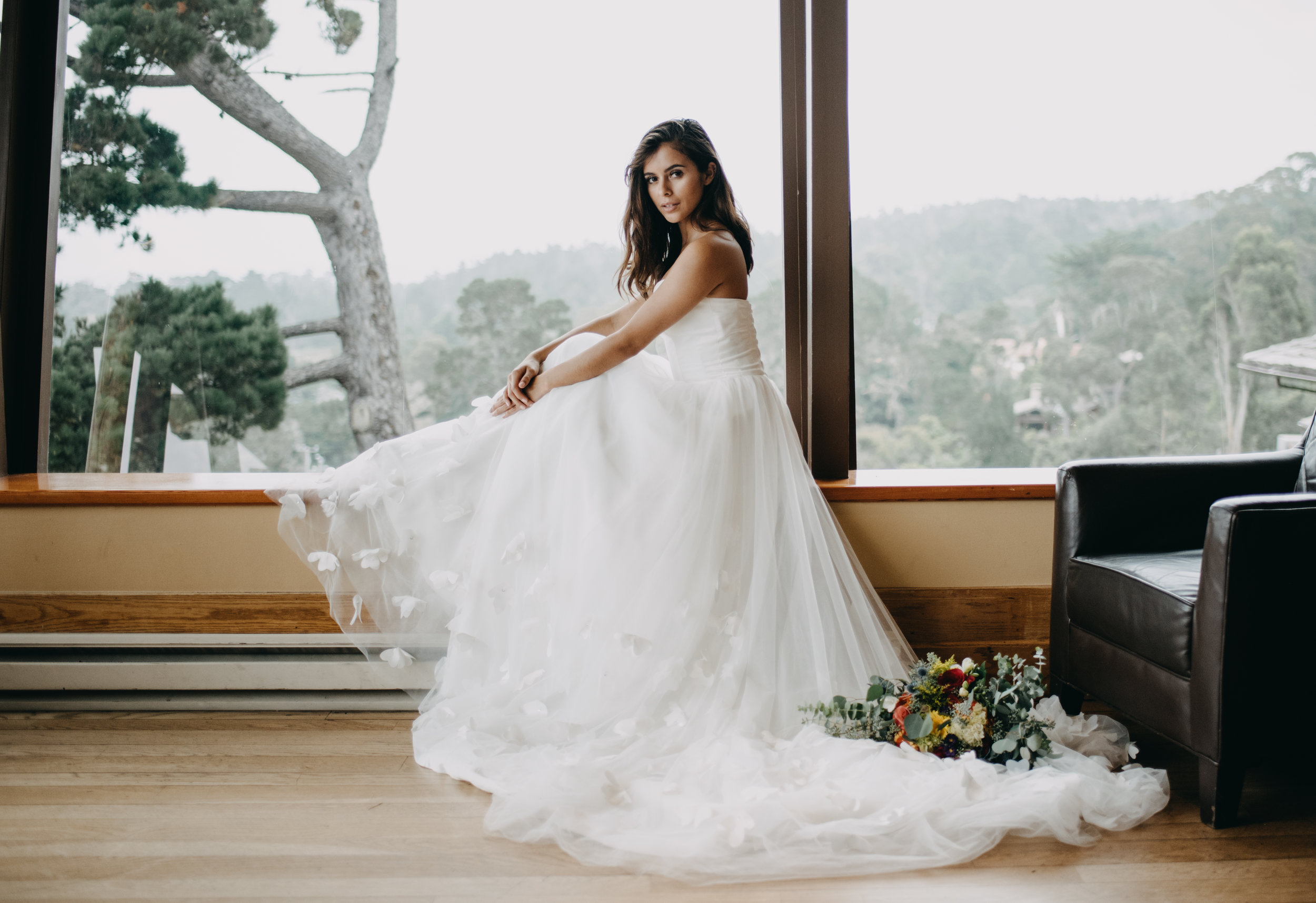 luxury resort wedding photos interior, simple pretty wedding dress with 3D floral details and tulle