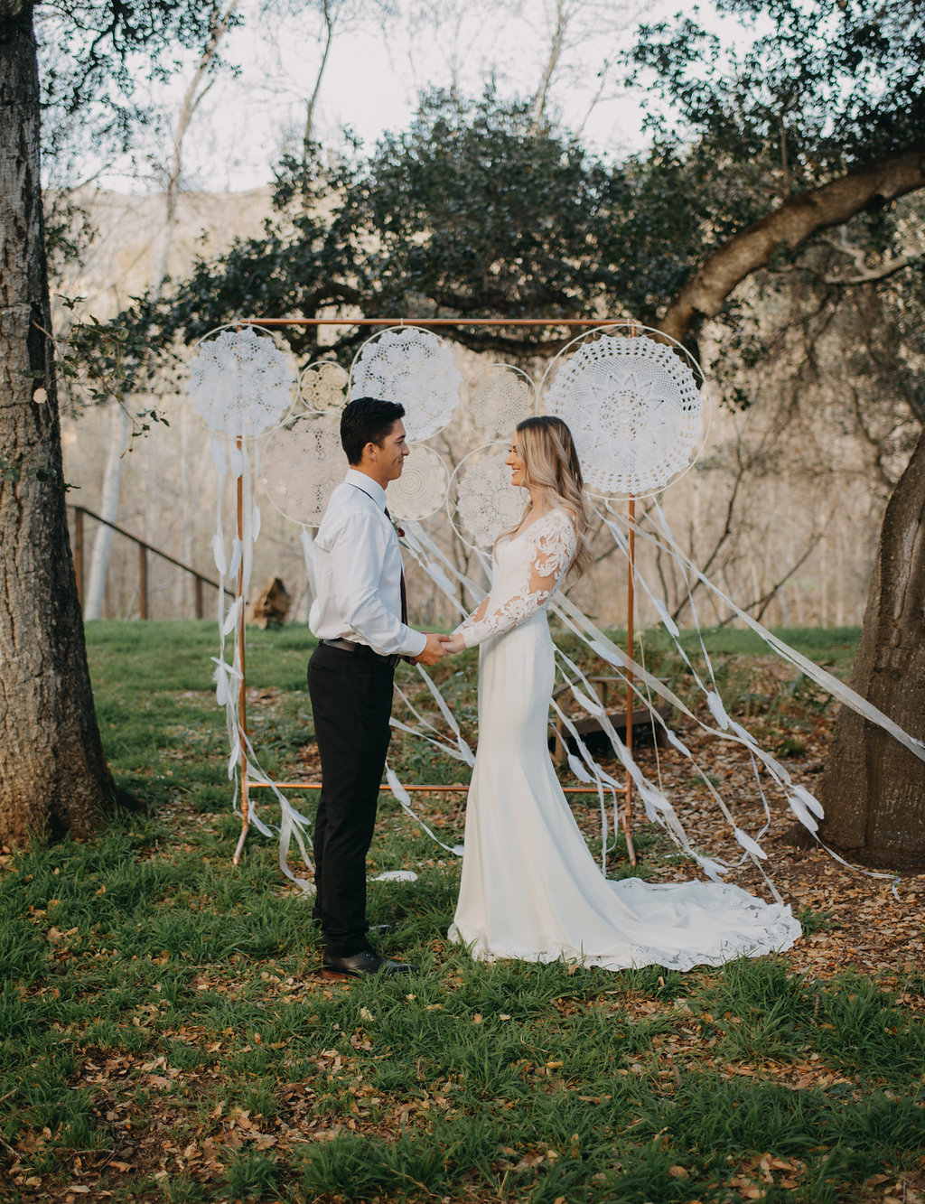 gorgeous affordable wedding dress, bohemian wedding dress with long lace sleeves and mermaid fit