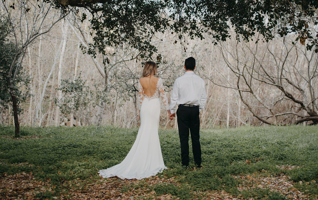 plunging back wedding dress long sleeve wedding dress for fall and winter natural outdoors wedding photo