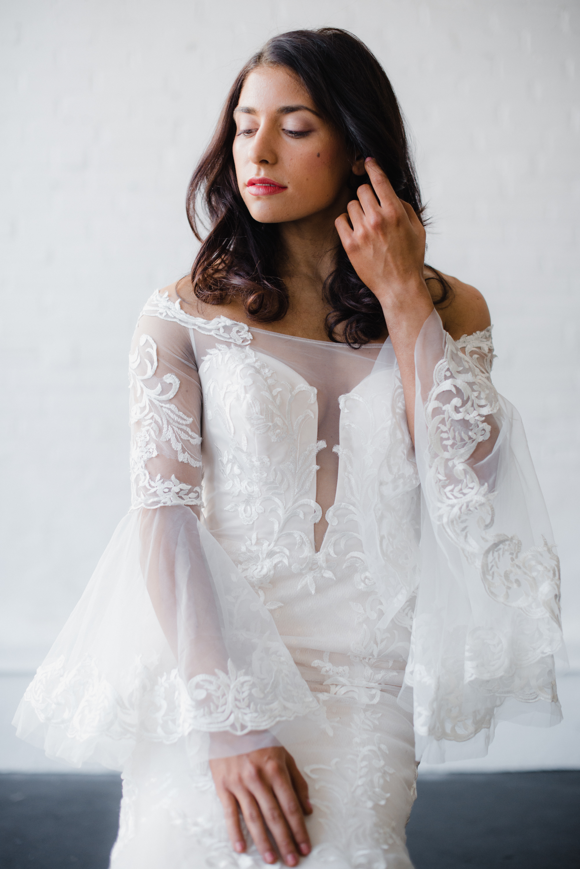 elegant bell sleeve wedding dress affordable chic wedding dress