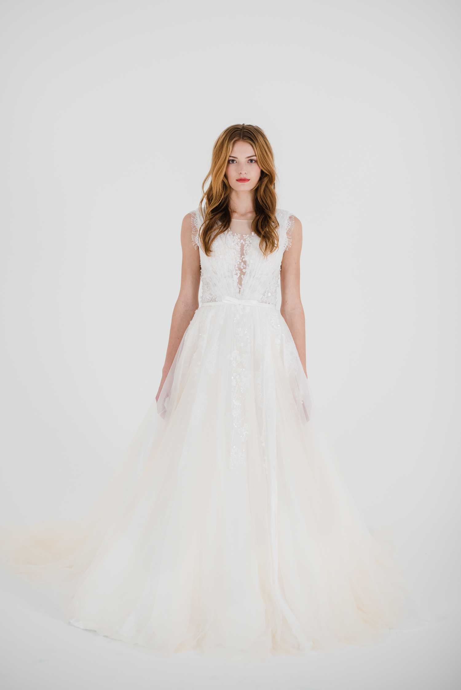 fun ballgown fit wedding gown with floral lace bodice and tulle lace skirt