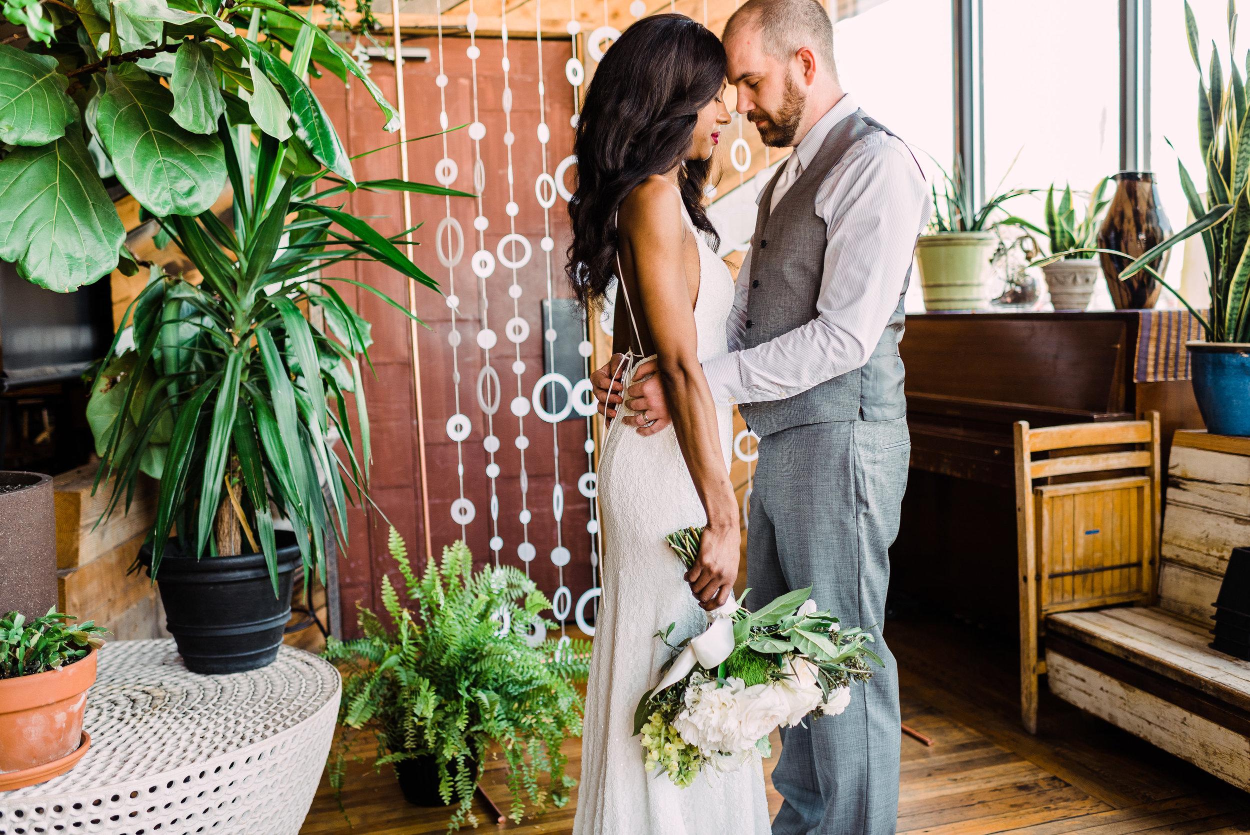 full bouquet for simple modern wedding dress