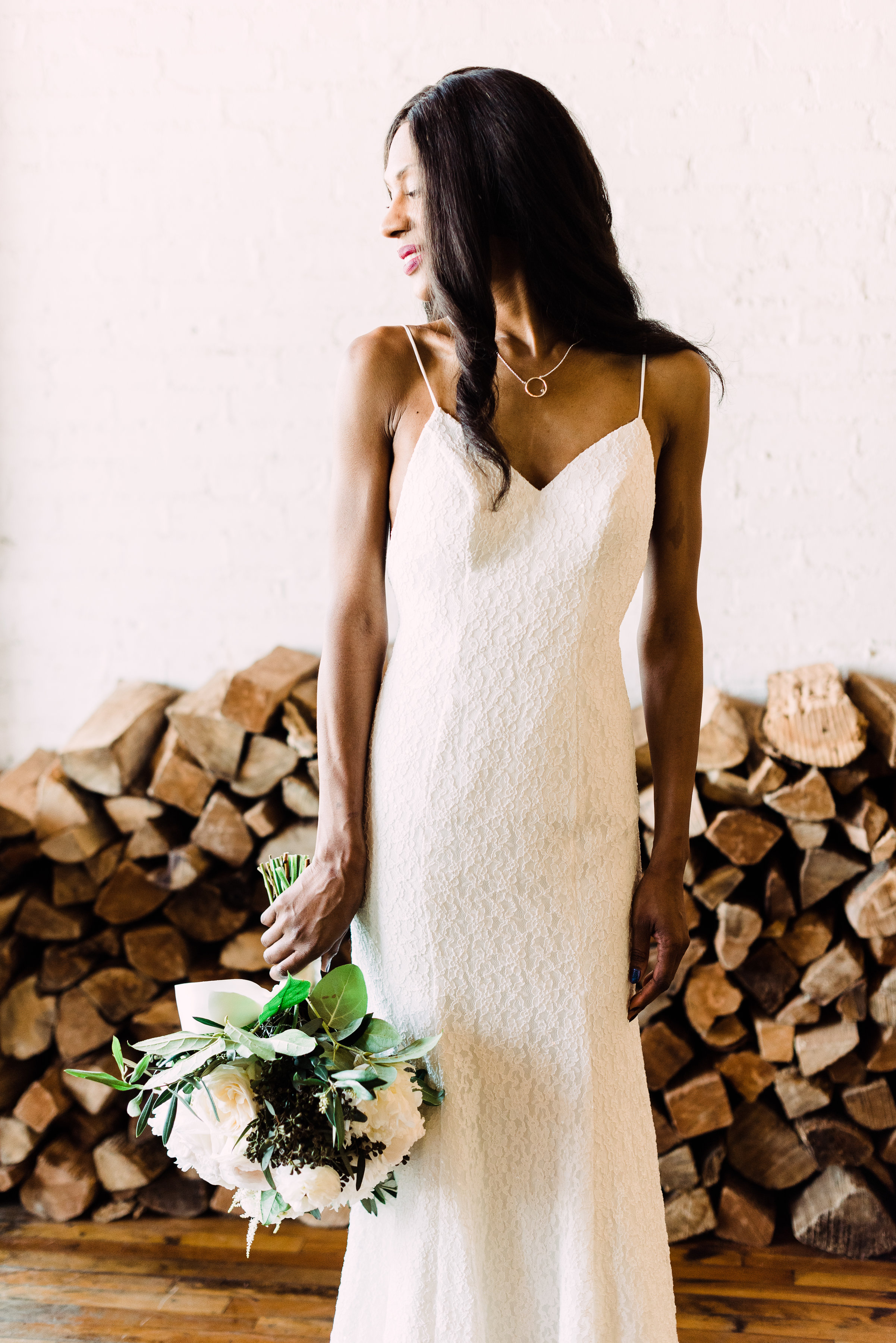 simple clean wedding dress with sequined lace and sheath fit