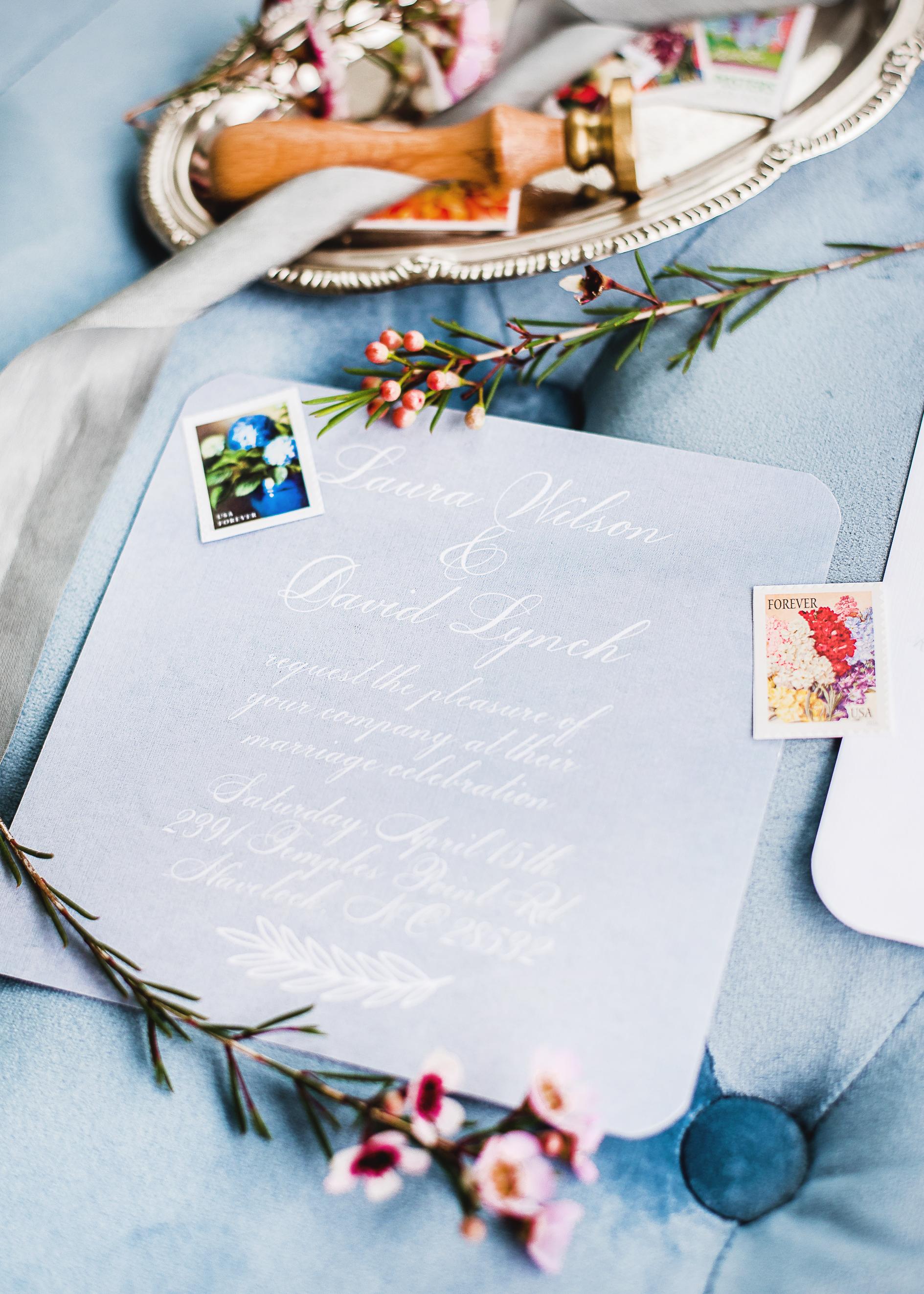 blue theme wedding invitation