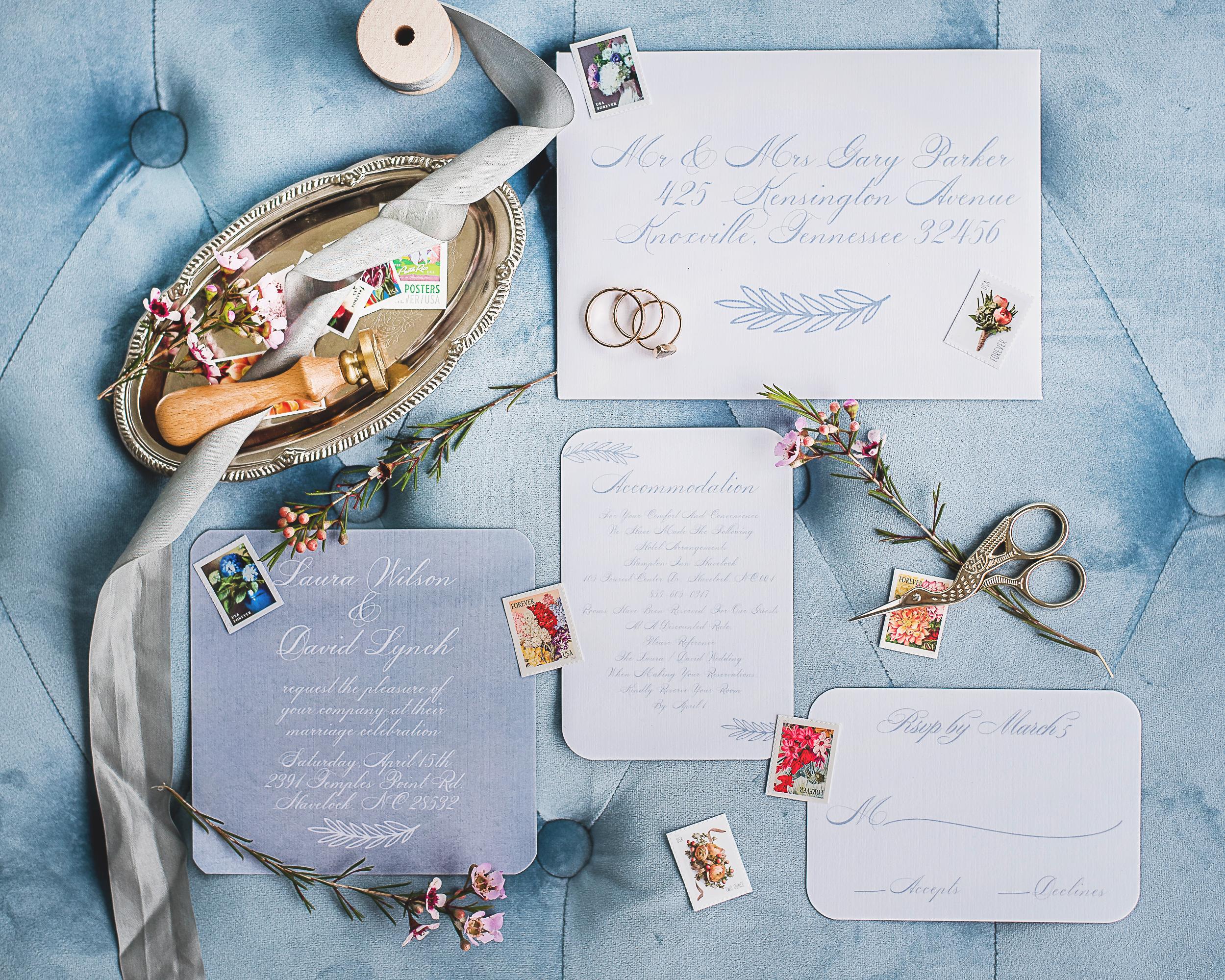 handwritten calligraphy wedding invitation blue themed