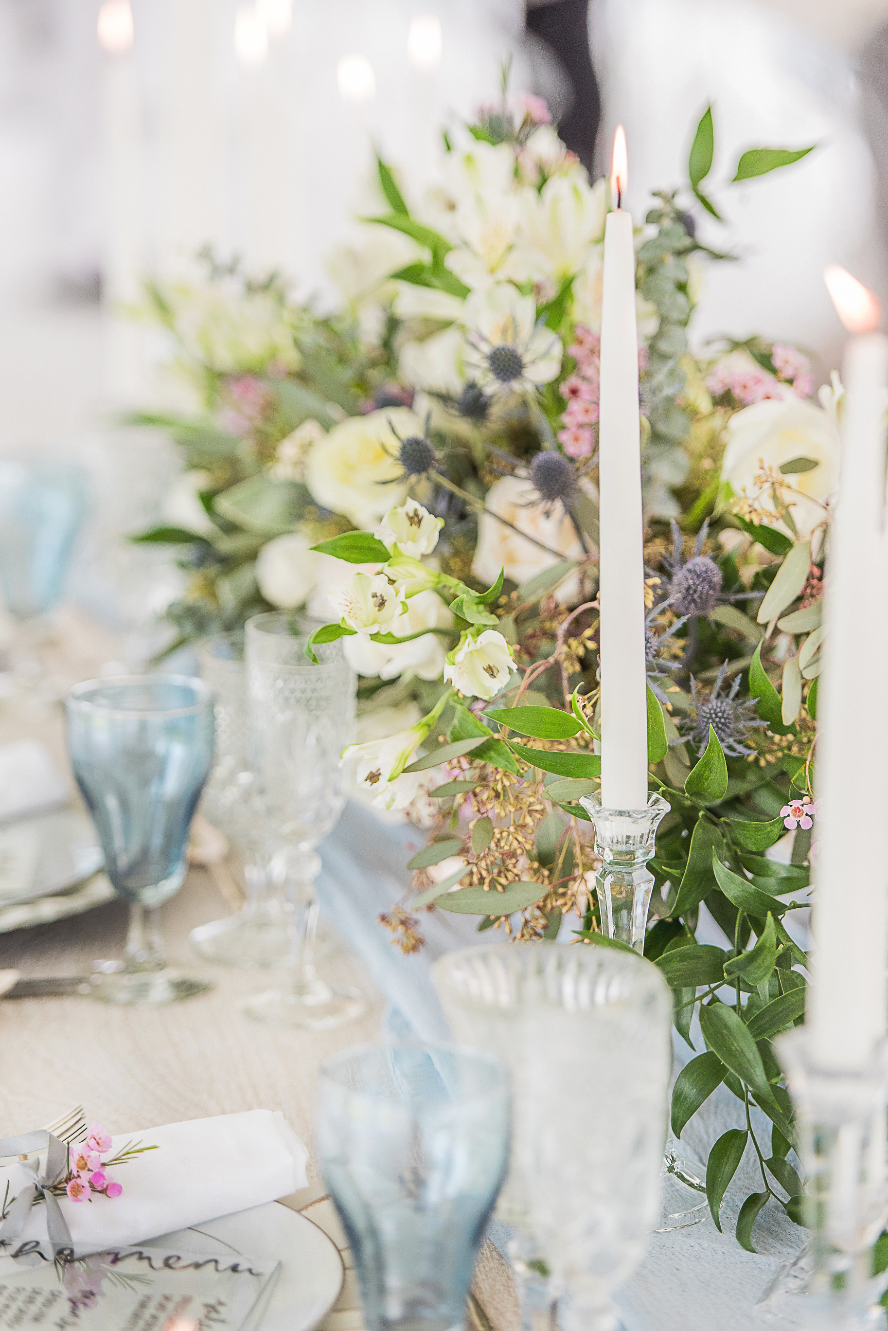 simple modern table setting for blue themed wedding