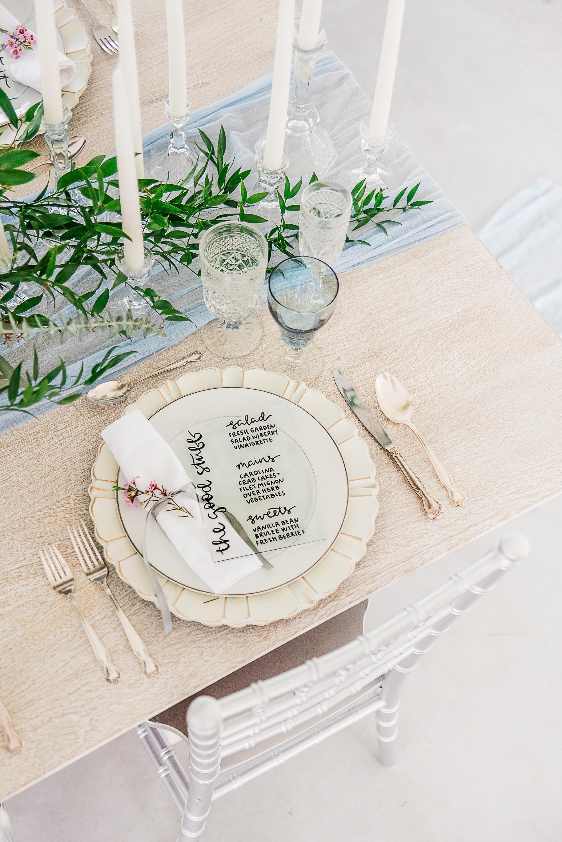 simple clean wedding tableware