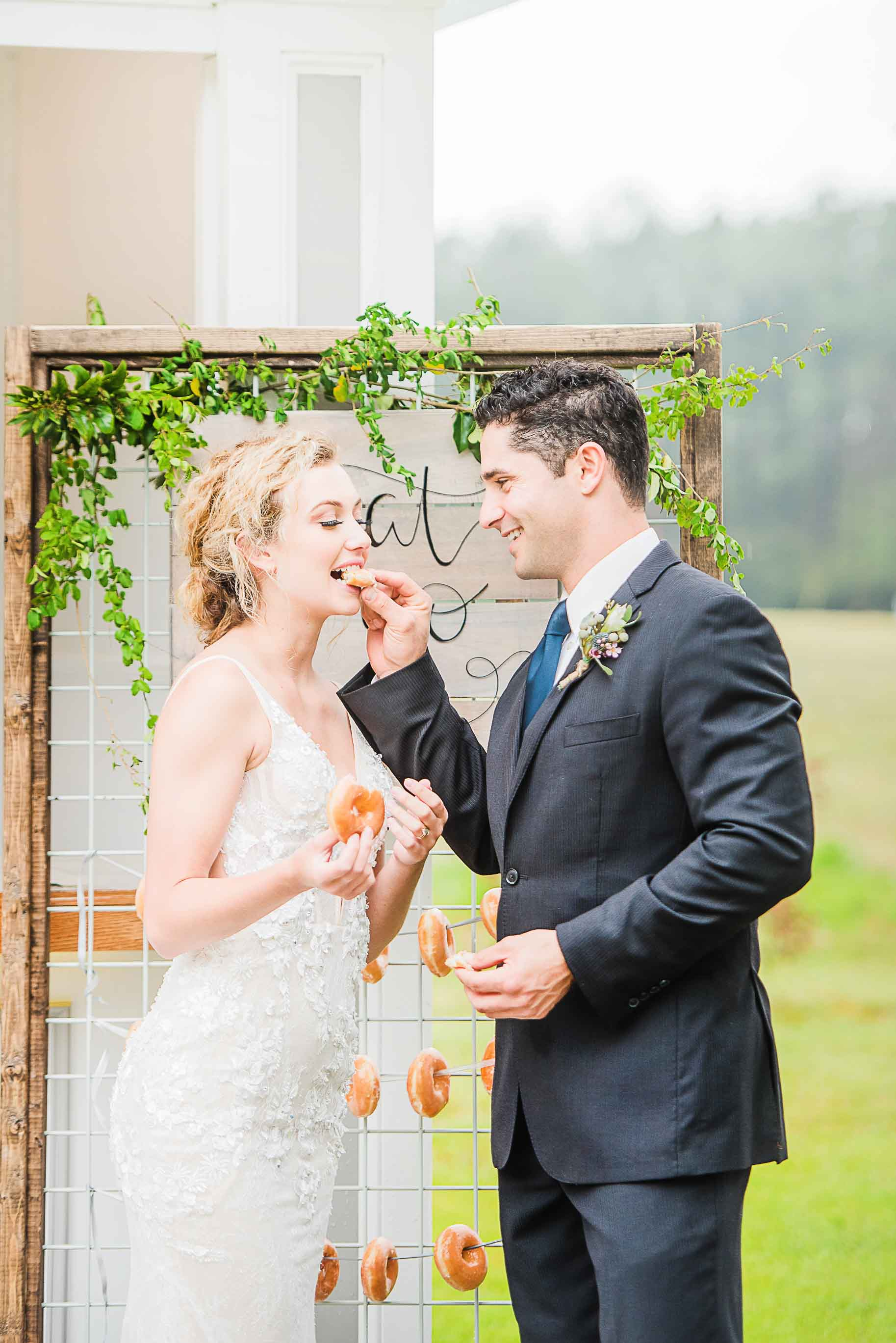 unique donuts for wedding treats candid couple photos