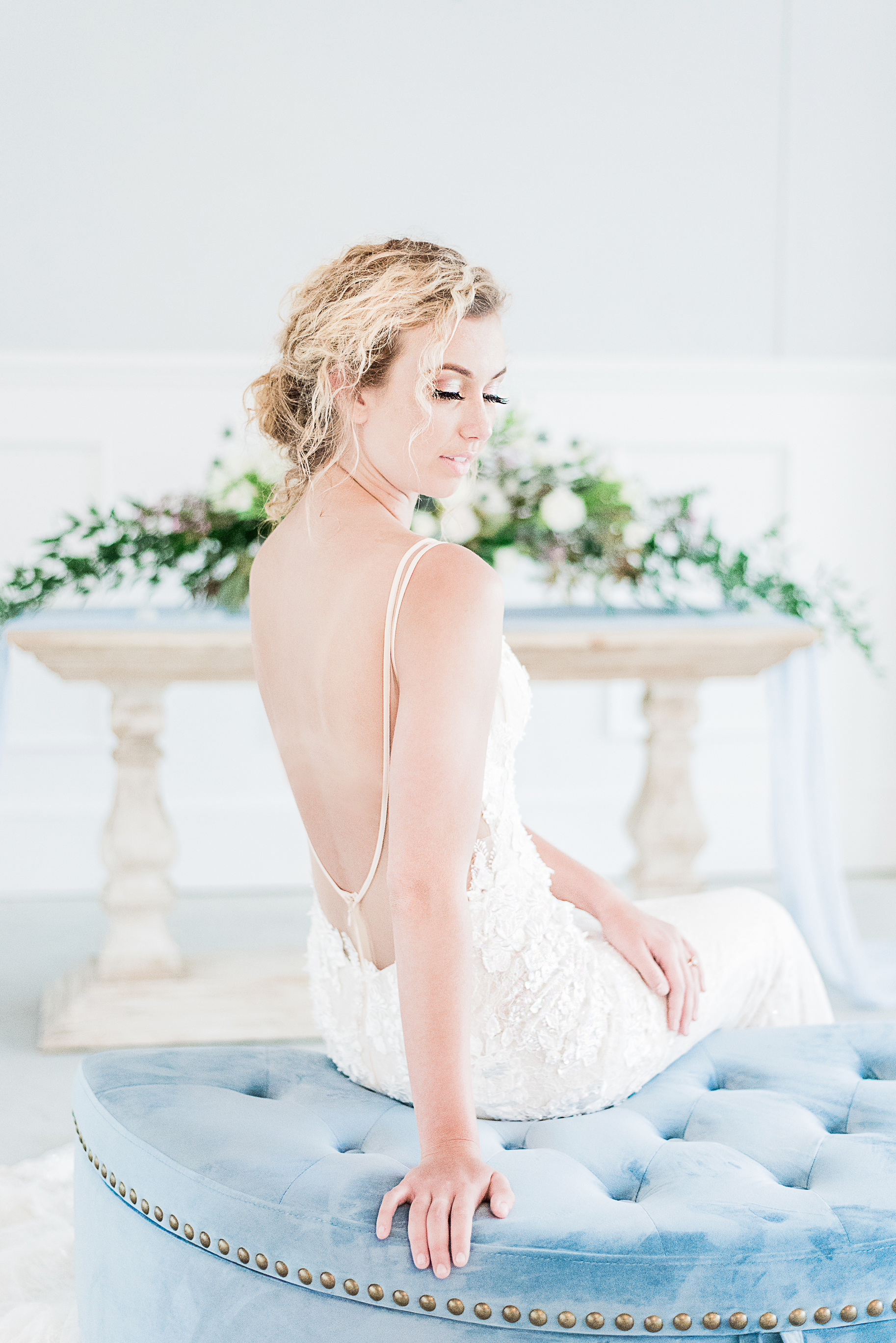 blue themed wedding indoor photography illusion back wedding dress