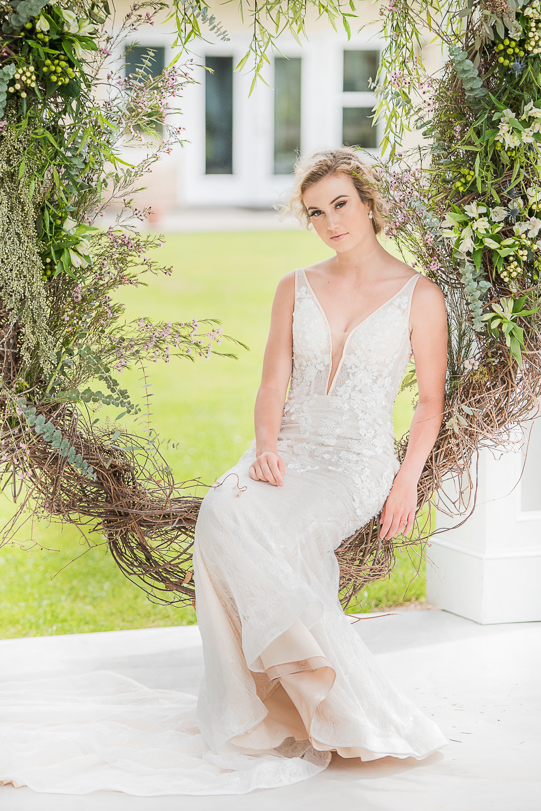 outdoor wedding dress photography simple modern wedding gown peach toned and crystal traced lace wedding gown
