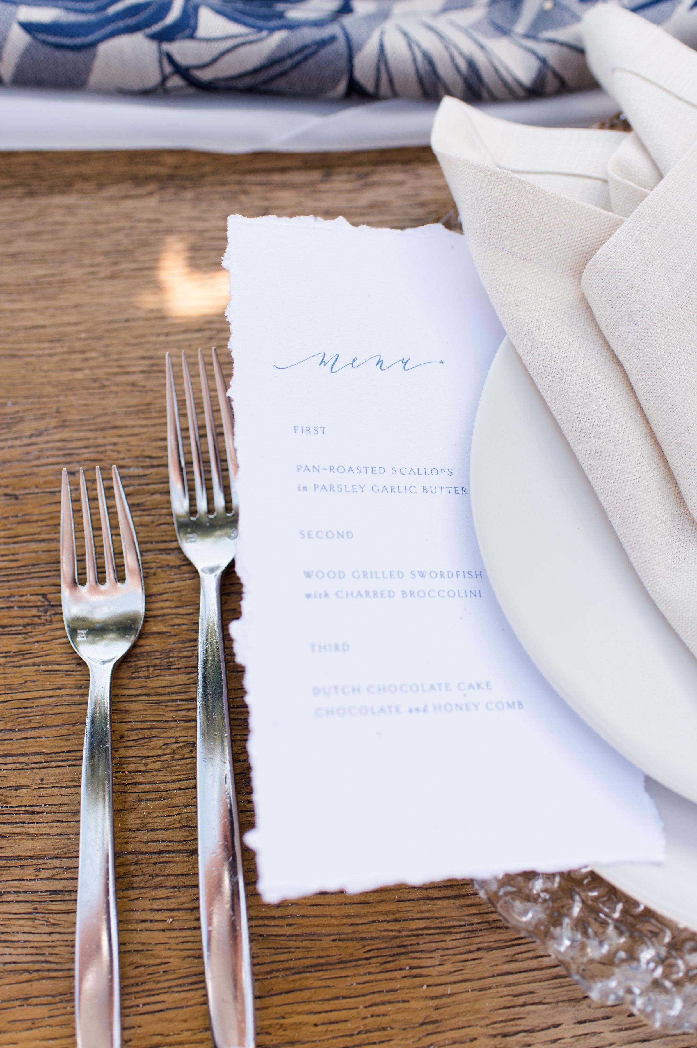 simple coastal wedding clean cool wedding menu