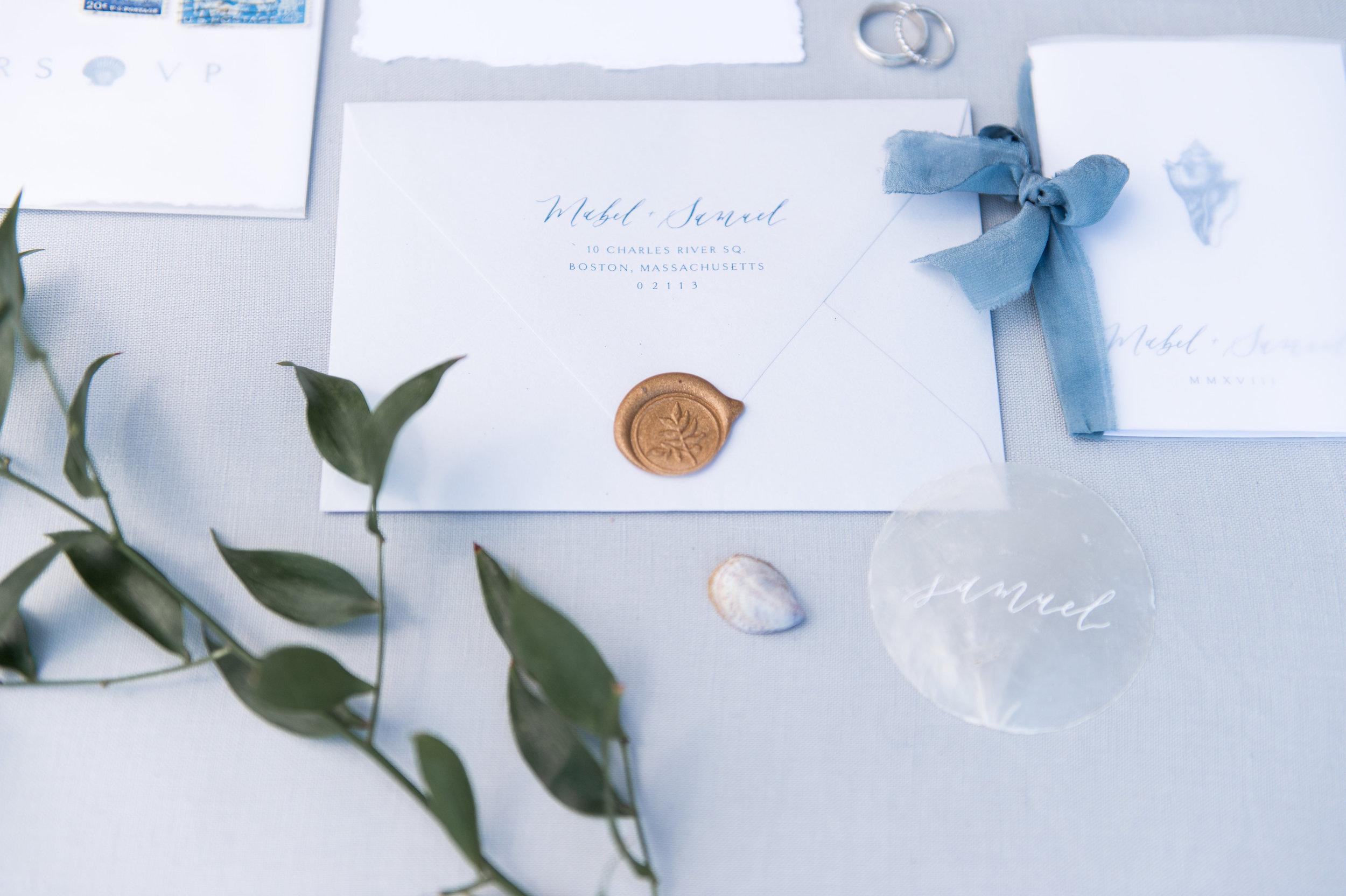simple clean wedding invitation wax seal