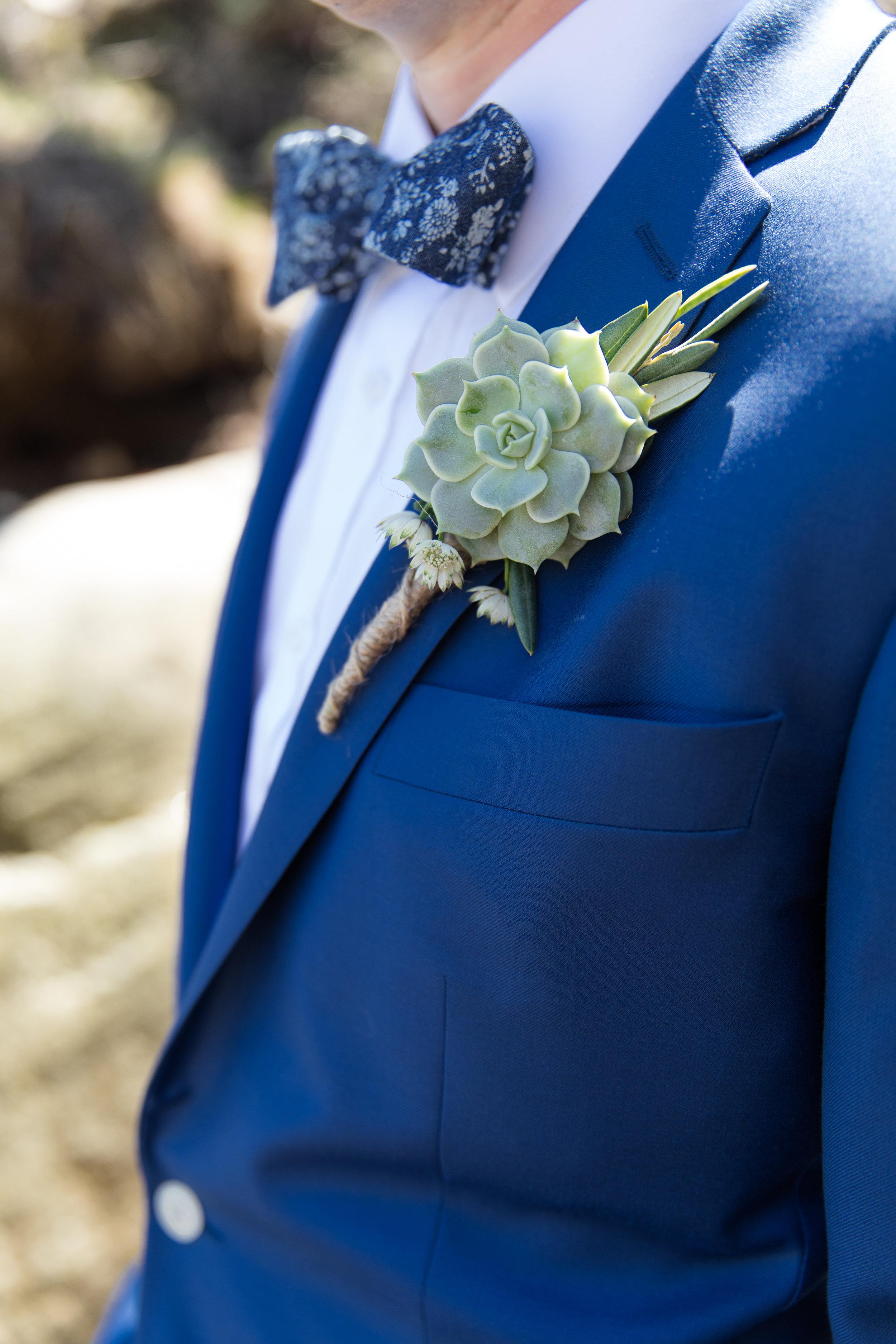 unqiue succulent boutonniere bow tie cerulean blue tux
