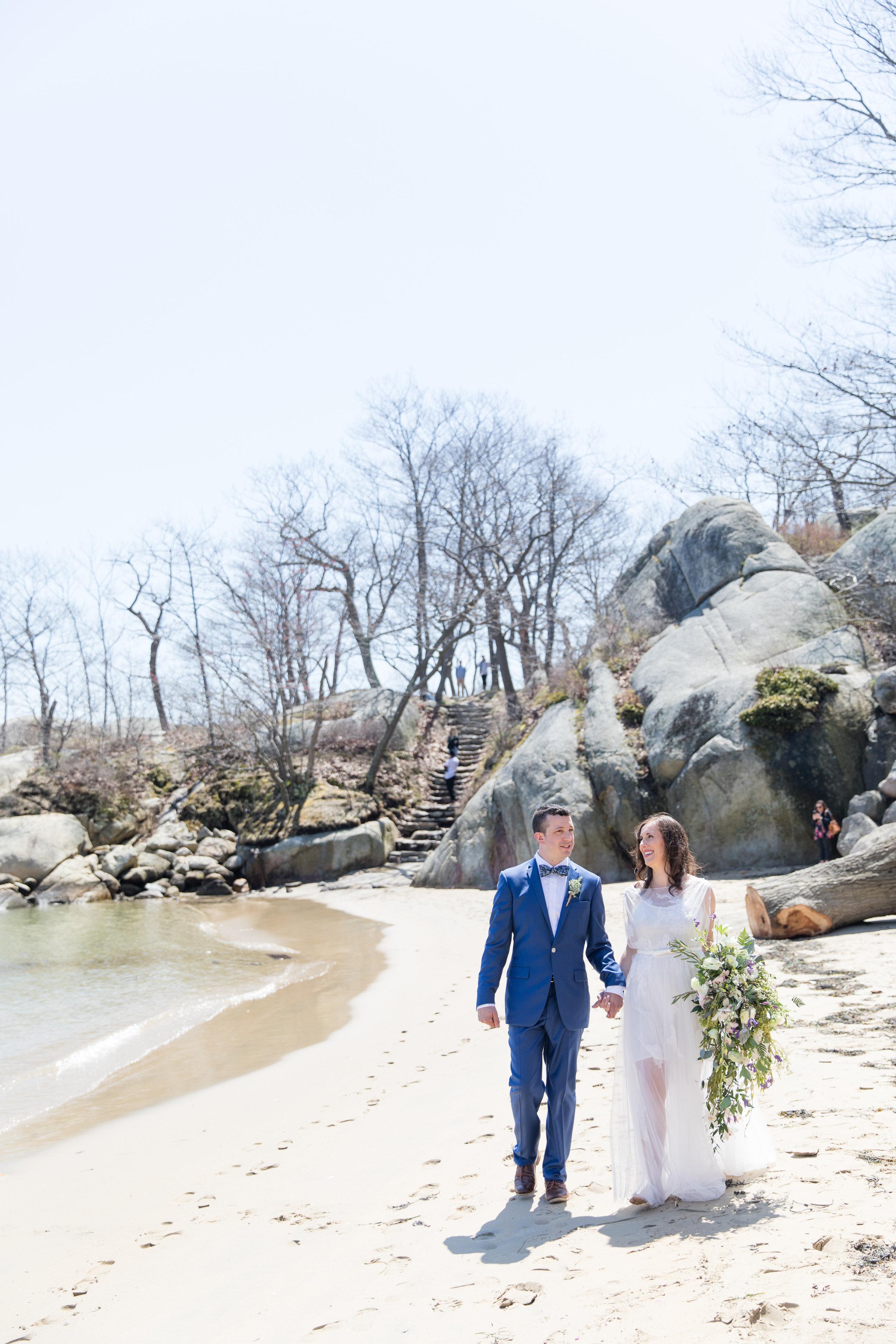 beach walk wedding photography