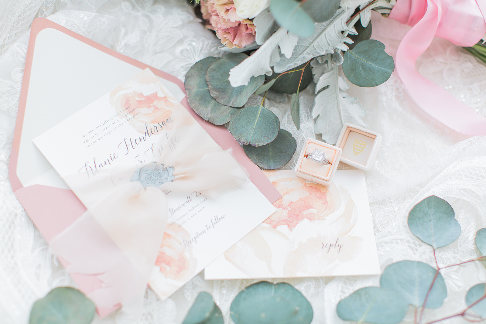 peach toned water color wedding invitation