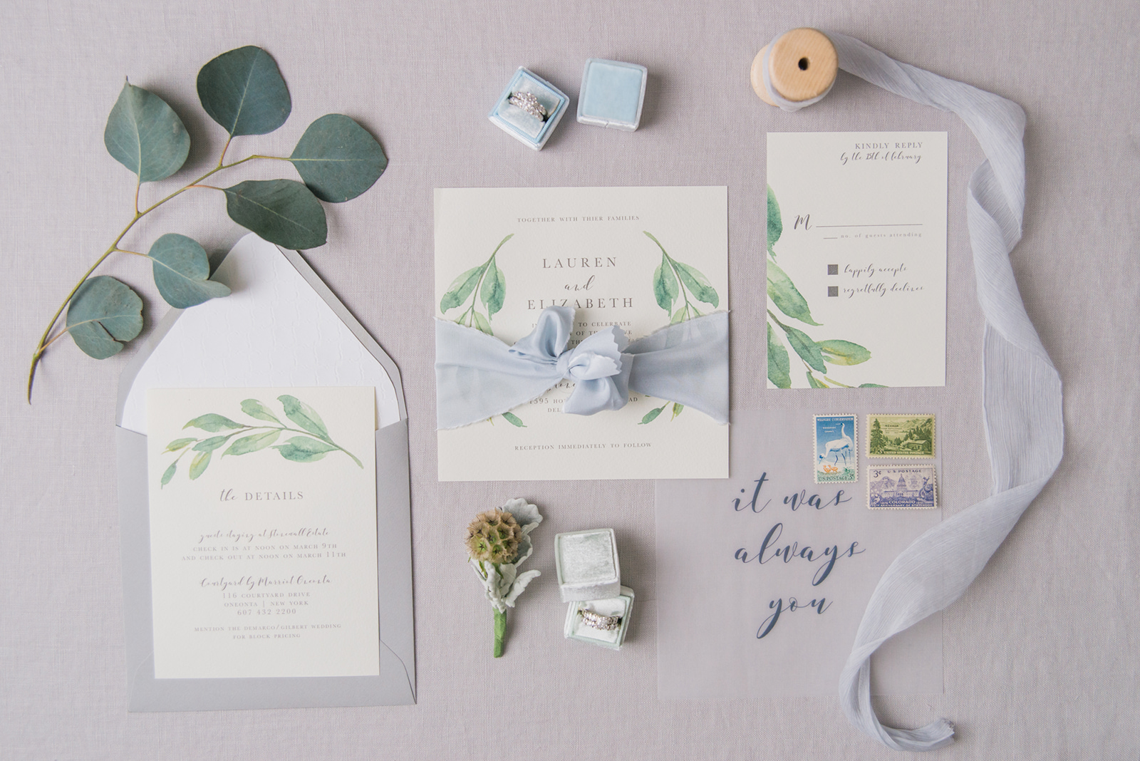simple modern wedding invitation photography