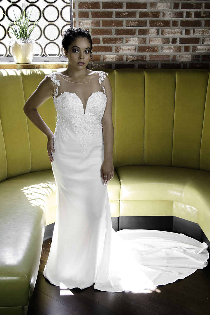simple modern wedding dress with court train