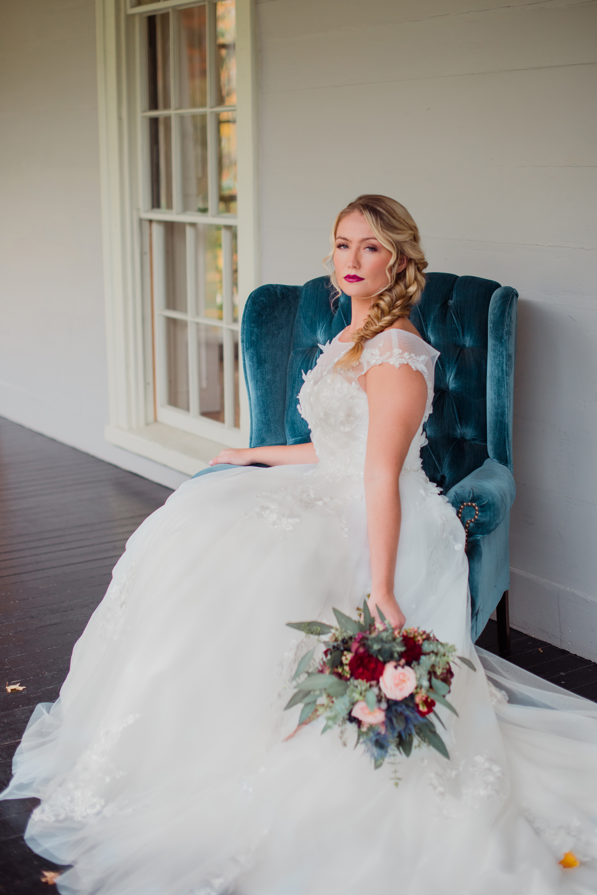 fall wedding velvet decor floral lace wedding dress with capped sleeves