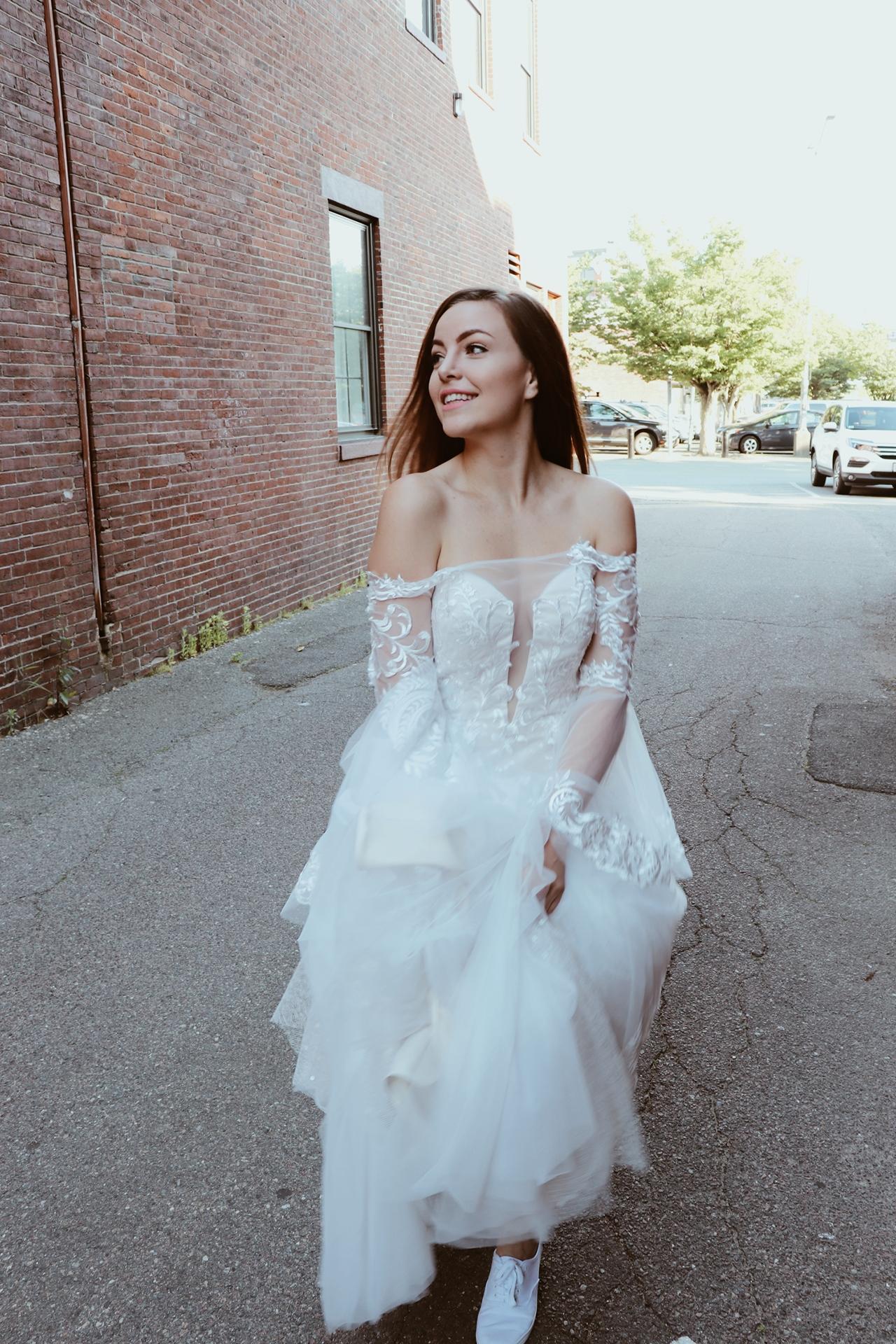 happy bride walking