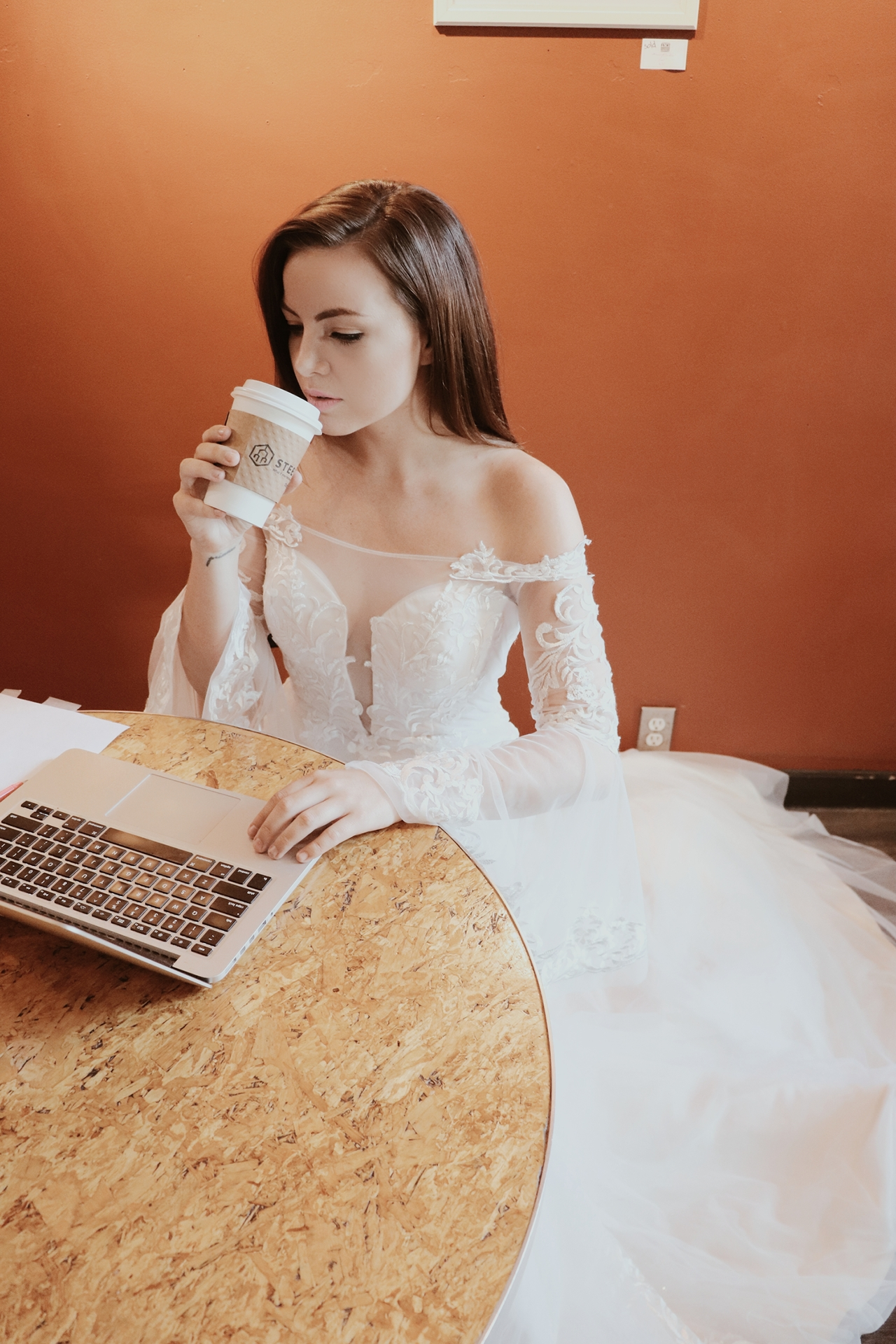 bride drinking coffee