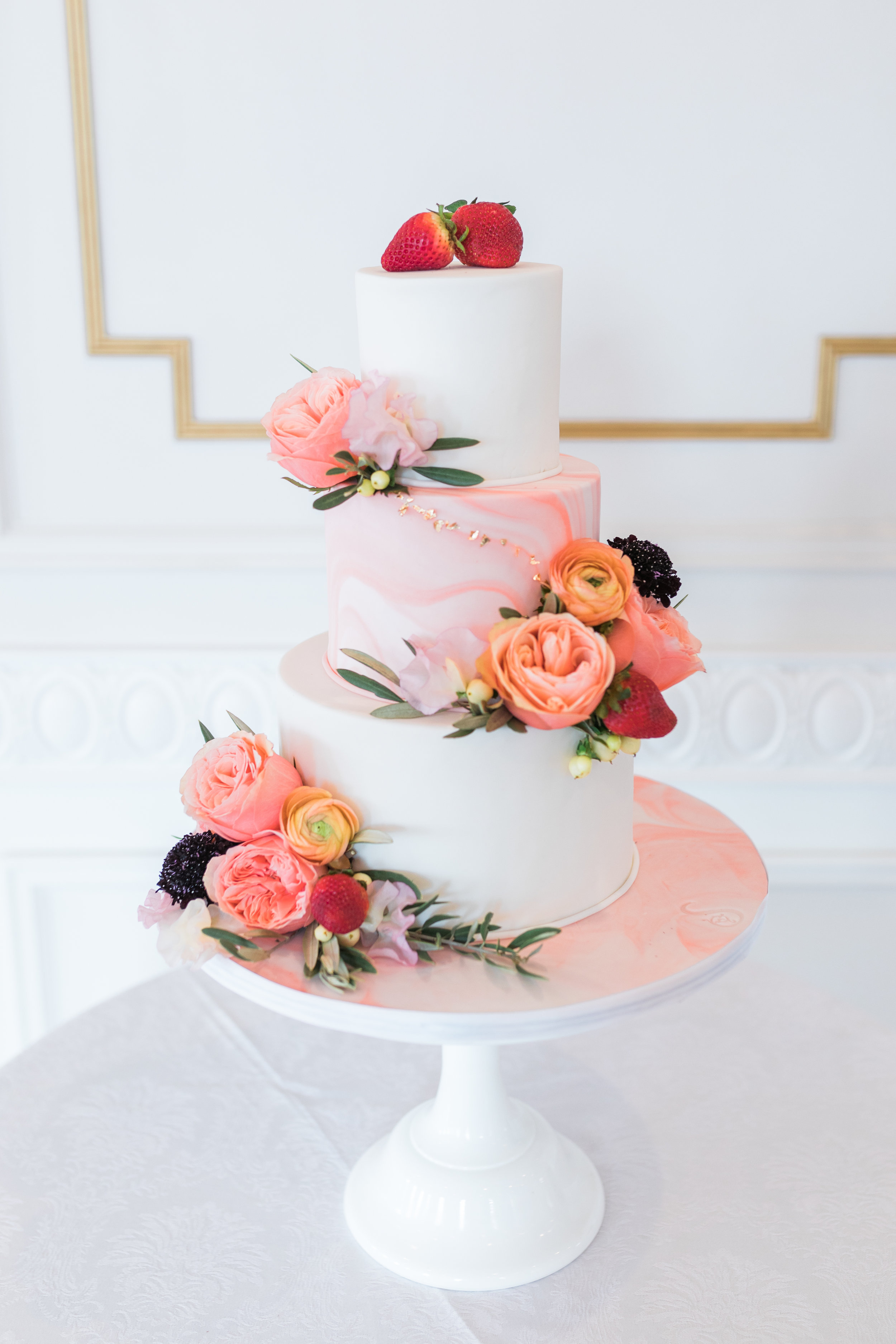 living+coral+pantone+color+of+the+year+wedding+cake+simple+modern+floral+cake.jpg