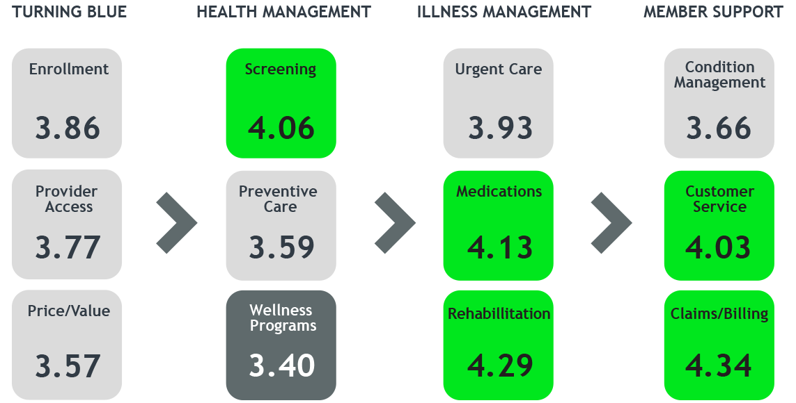 """Journey Analytics """"opens up"""" and illustrates performance experience metrics across the entire customer journey. Here, screening is showing the highest customer satisfaction scores; wellness programs, the lowest."""