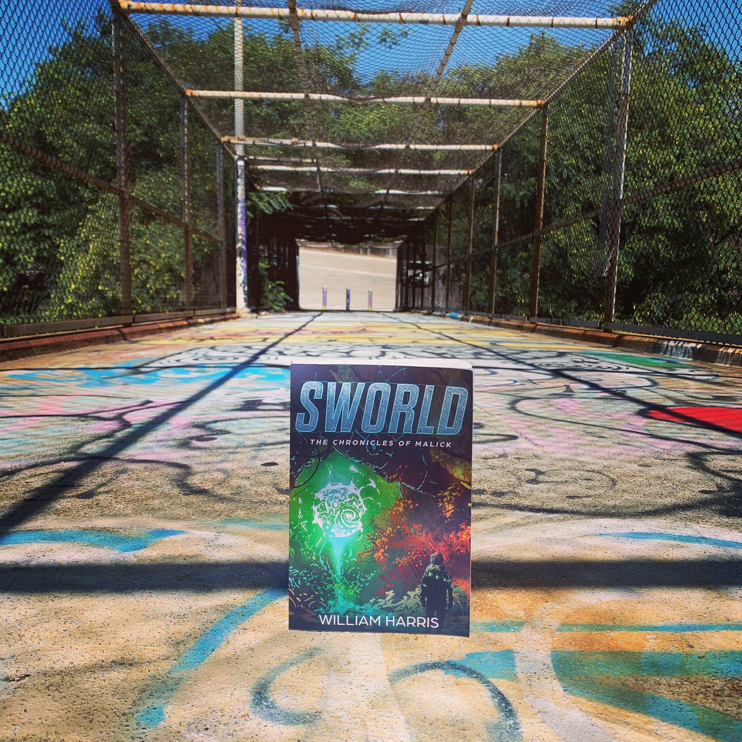 Sworld on a footbridge.