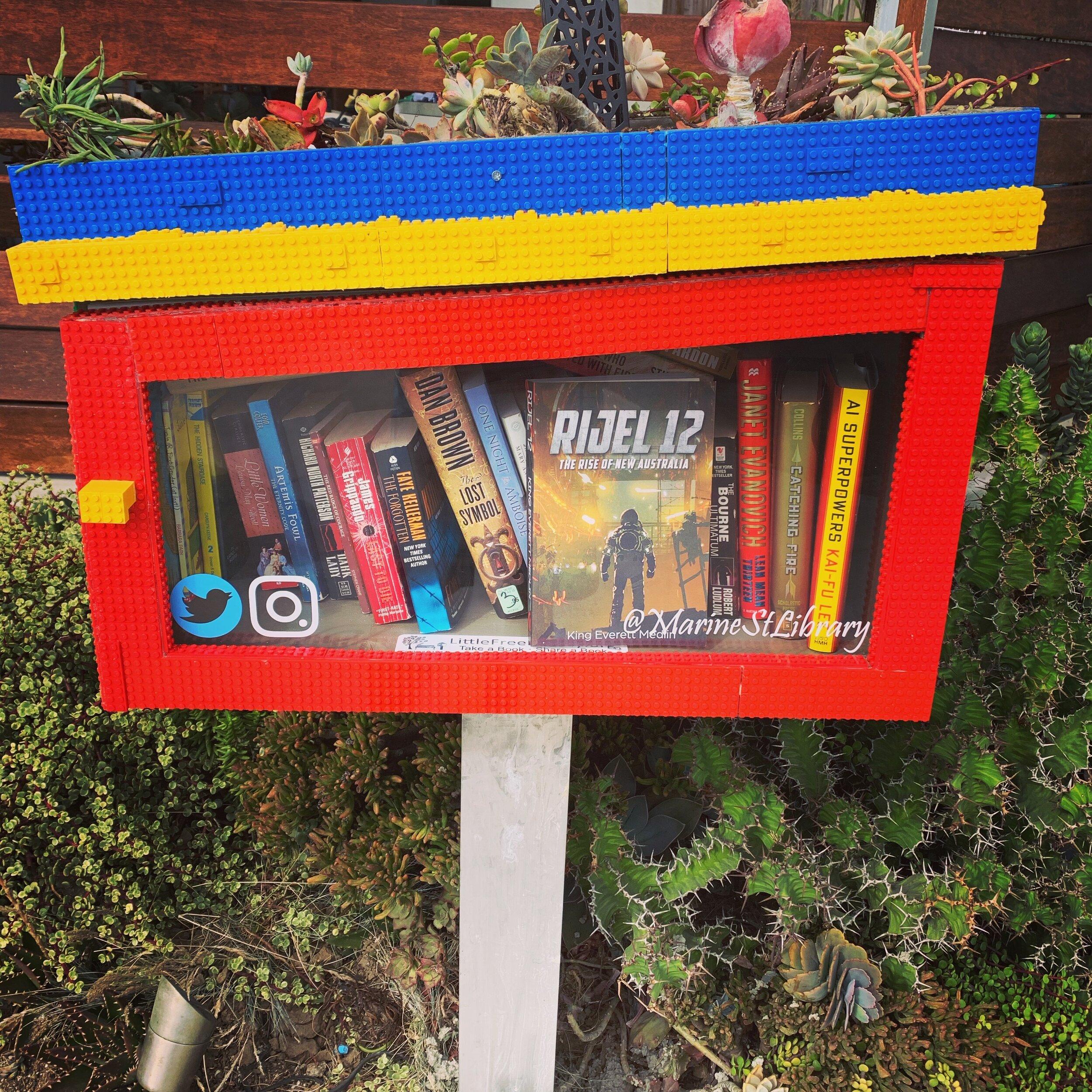 Rijel 12 in a LEGO little free library.