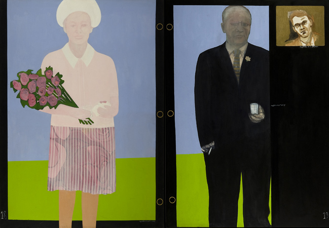 "My Mother and Father at My First Wedding    diptych, acrylics on canvas  84"" x 144"", 1978"