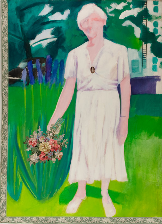 """Florence Kirk at Gould Farm    acrylics and collage on canvas  96"""" x 72"""", 1978"""