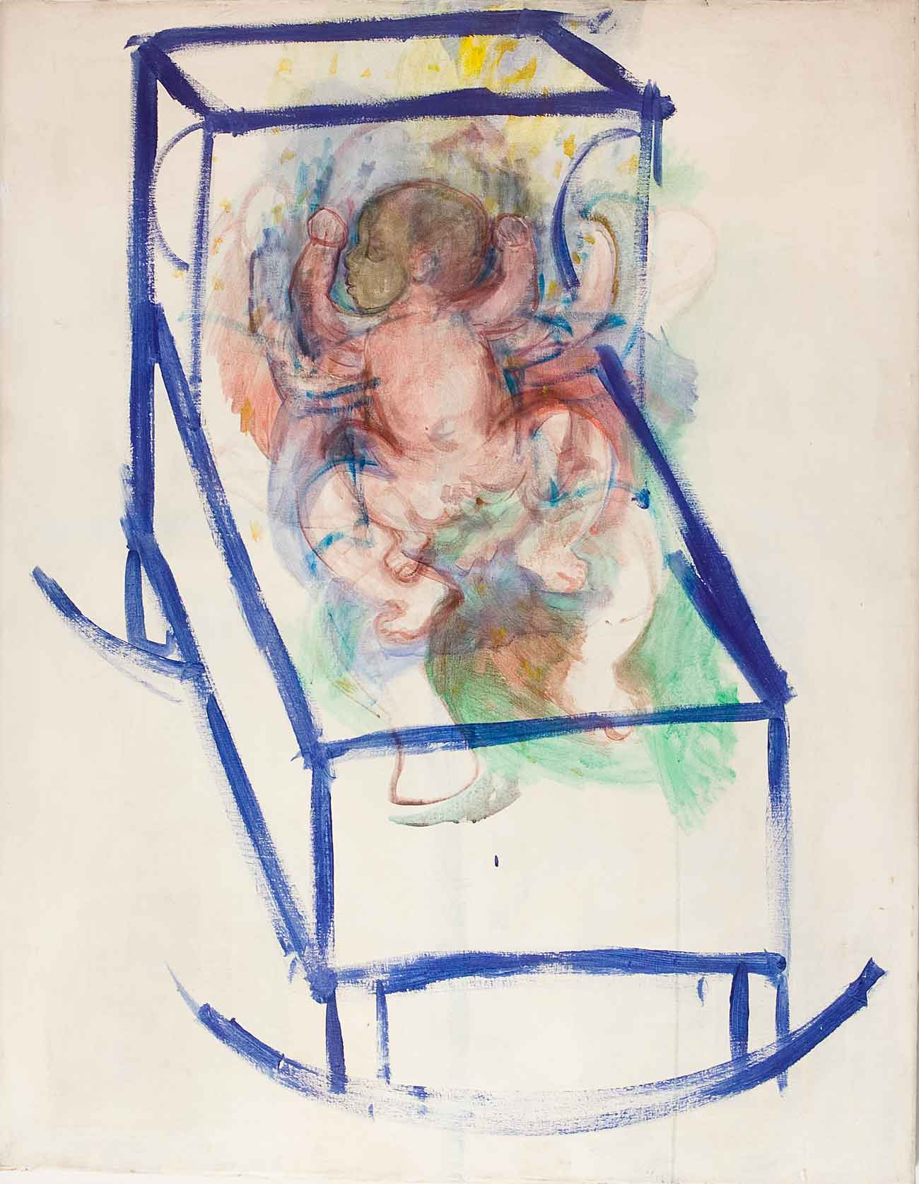 "Jeremiah as Infant in Cradle    acrylics on canvas  96"" x 72"", 1976"