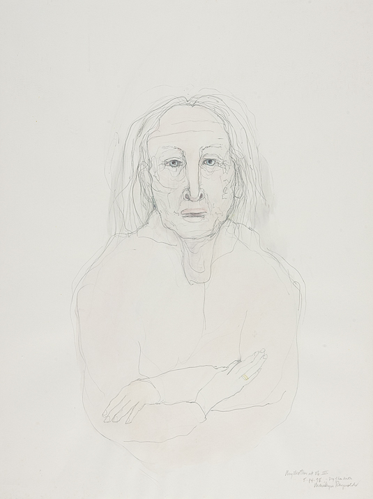 "My Mother on Her 86th Birthday, 5/14/98    mixed media on paper  30"" x 24"", 1998"