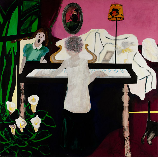 """The Music Lesson    acrylics on canvas  96"""" x 92"""", 1979"""