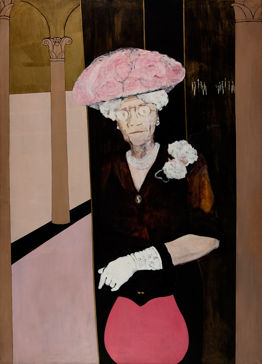 "Wedding Guest, Grandma R.    acrylics on canvas  96"" x 72"", 1976"