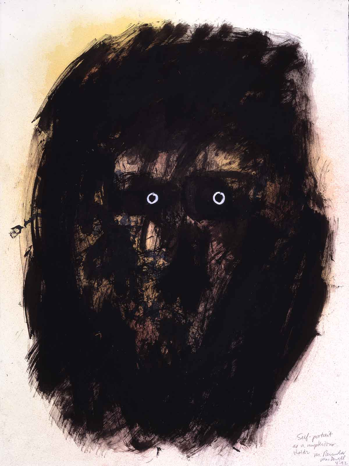 """Self-Portrait as A Mysterious Visitor    mixed media on paper  30"""" x 24"""", 1992"""