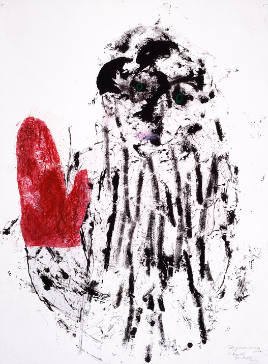 """Self-Portrait as Child with Bloody Mitten    mixed media on paper  30"""" x 24"""", 1992"""