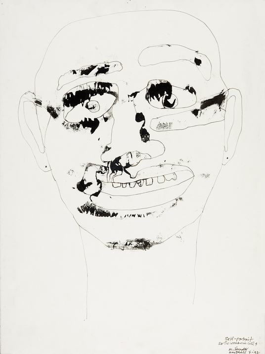 """Self-Portrait as The Woman in Cell Four    mixed media on paper  30"""" x 24"""", 1992"""