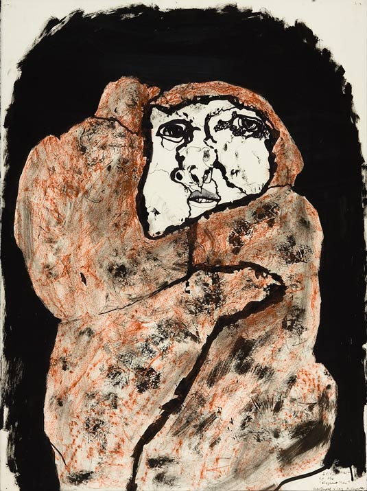 """Self-Portrait as The Elephant Man    mixed media on paper  30"""" x 24"""", 1992"""