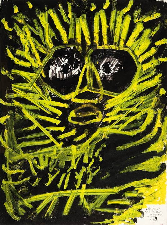 """Self-Portrait as A Wild Beast    mixed media on paper  30"""" x 24"""", 1992"""