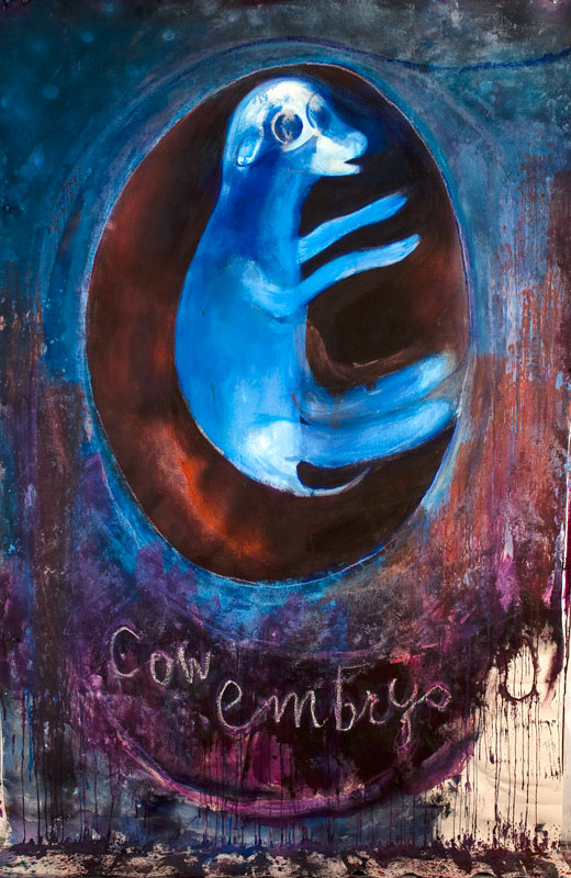 "Cow Embryo    acrylics on canvas  96"" x 72"", 2015"
