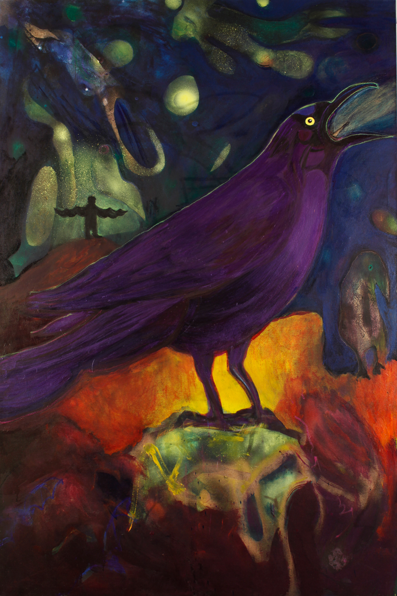 "In Honor of the Common Purple Grackle    acrylics on canvas  72"" x 48"", 2013"