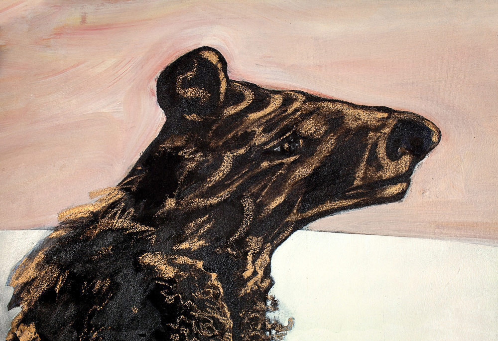 "Bear's Head    Detail  mixed media on canvas  20"" x 32"", 1983"