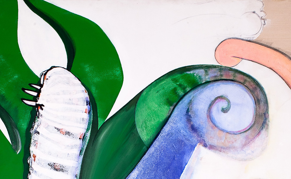 "Caterpillar, Plant Forms and Wind Character    Detail  mixed media on canvas  48"" x 76"", 1983"