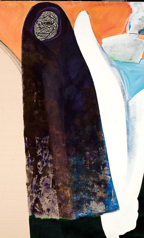 "Female Figure with Elephant Eye  in front of  Beached Whale    Detail  mixed media on canvas  96"" x 60"", 1983"